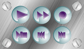 Play music 3d buttons. Six music buttons on metal table with screws Royalty Free Stock Images