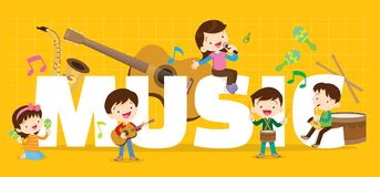 Play music concept. Of children group.Cartoon dancing kids and kids with musical instruments.cute child musician various actions playing music.around big Letter royalty free illustration