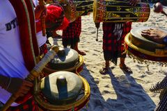 Play music at cultural festival at the beach. A cultural festival at the beach involve numbers of dancers, traditional music players and artists with music royalty free stock photography