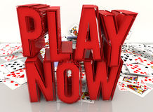 Play now and cards Royalty Free Stock Image