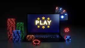 Play Online Gambling Win Concept With Glowing Neon Lights, Poker Cards and Poker Chips Isolated On The Black Background - 3D Illus. Play Online Gambling Win vector illustration