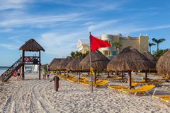 On the Play Paraiso at Caribbean Sea of Mexico. Stock Images