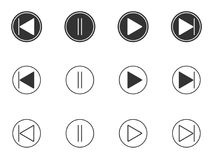 Play, pause, forward, backward buttons icons set Stock Photography