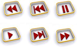 Play and pause icon set. A set of icons for play, pause, fast forward, rewind and more Royalty Free Stock Photos