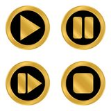 Play pause stop forward buttons set. Play pause stop forward buttons set on white background. Vector illustration Royalty Free Stock Images