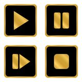 Play pause stop forward buttons set. Play pause stop forward buttons set on white background. Vector illustration Royalty Free Stock Photos