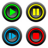Play, pause, stop, forward buttons set. On white background Royalty Free Stock Images