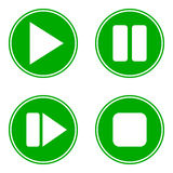 Play, pause, stop, forward buttons set. On white background Royalty Free Stock Photo