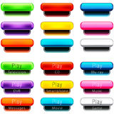 Play Pill Shaped Button Set vector illustration