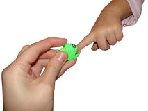 Play with plastic fish. The play with the plastic fish Stock Image