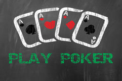 Play poker with four aces on school blackboard Royalty Free Stock Images