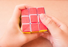 Play puzzle rubik cube Royalty Free Stock Image