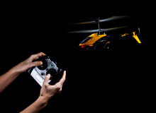 Play with RC helicopter Royalty Free Stock Image