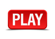 Play red 3d square button. Isolated on white Royalty Free Stock Photos