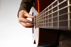 Play the right hand on classical guitar Stock Photography
