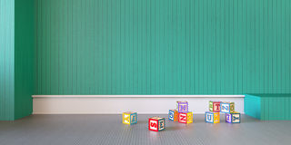 Play Room Modern Display Baby and Box Toy /3d rendering Stock Photo