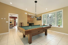 Play room with pool table Stock Image