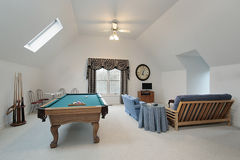 Play room with pool table Royalty Free Stock Photo