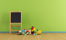 Play room with toys. And blackboard with abacus - rendering Royalty Free Stock Images