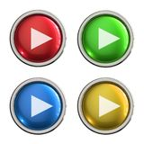 Play glass button. Play round shiny 4 color web icons with metal frame,3d rendered isolated on white background Stock Images