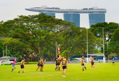 Play rugby in Singapore Royalty Free Stock Images