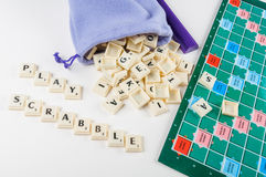 Play Scrabble. Isolated photo of scrabble letters stock images