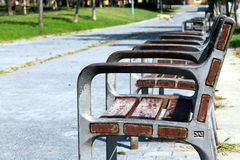 A play on seats II. At the park of Sant Martí Royalty Free Stock Photo