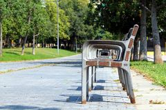 A play on seats at the park of Sant Martí Stock Photos