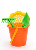 Play set. With bucket, shovel,filter and rake on white Stock Images
