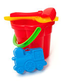 Play set with bucket, shovel and rake on white Royalty Free Stock Photos
