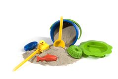 Play-set for sand. Play-set with bucket and so on to play with sand Royalty Free Stock Photo