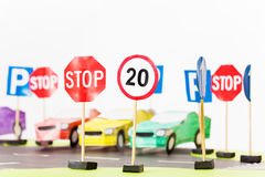 Play set of toy speed-limit and stop road signs Royalty Free Stock Photos