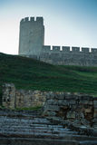 Play of shadow and light below Kalemegdan fortress tower at early morning in Belgrade Stock Photos