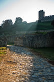 Play of shadow and light below Kalemegdan fortress tower at early morning in Belgrade Royalty Free Stock Images
