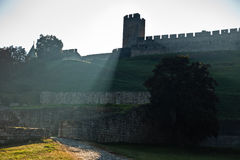 Play of shadow and light below Kalemegdan fortress tower at early morning in Belgrade Royalty Free Stock Image