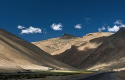 Play of Shadow and light on Leh manali Road. Ladakh India Royalty Free Stock Image