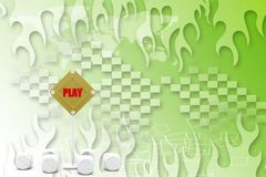 Play sign board with dice Illustration Royalty Free Stock Photos