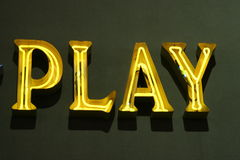 Play sign neon lights Stock Photos