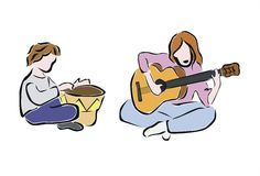 Play and sing. Two friends playing and singing Stock Photo