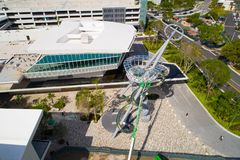 Aerial image of the slide at Aventura Mall Florida. Play slide at Aventura Mall Florida shot from above with a drone Royalty Free Stock Photos