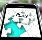 Play Smartphone Shows Recreation And Games On Internet Royalty Free Stock Images