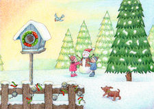 Play In The Snow. Cute illustration of a holiday winter scene Royalty Free Stock Image