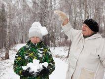 Play snowballs Royalty Free Stock Photo