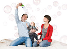 Play with soap bubble Royalty Free Stock Photos