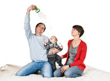 Play with soap bubble Stock Image