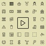 Play squared icon. Detailed set of minimalistic line icons. Premium graphic design. One of the collection icons for websites, web. Design, mobile app on colored Royalty Free Stock Image