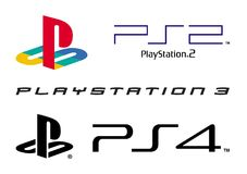 Play station logo collection. Vector collection set of Playstation 1 one 2, 3 and 4 logos isolated on white background. High quality editable and scalable eps Stock Photography