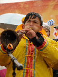 Play the Suona Horn in the Snow Royalty Free Stock Photos
