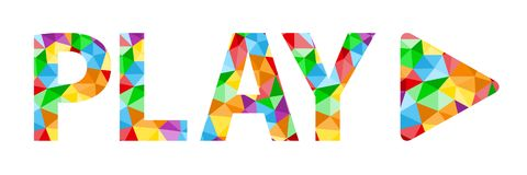 PLAY icon with colorful polygon pattern. Play text and symbol with vector polygon pattern composed of triangles.  Rainbow colors Royalty Free Stock Photos