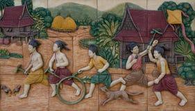 Play of thai children on tile Royalty Free Stock Photo